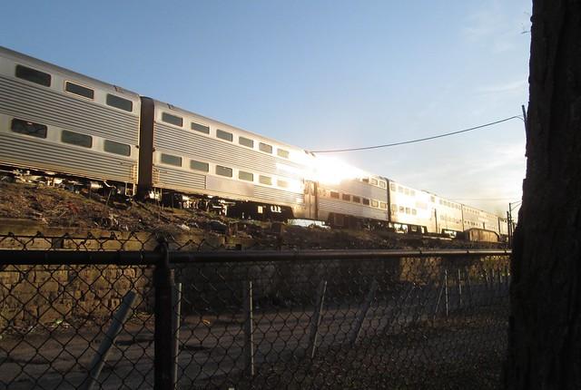 BNSF Metra train, late, Canon POWERSHOT A1300