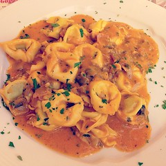 Ravioli with ham and mushrooms