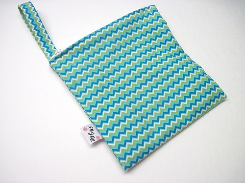 Blue and Green Zig Zag New Style Mama Wet Bag