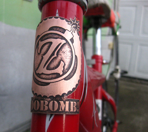 artbywinona posted a photo:	Etched, hand-cut copper bicycle head badge.