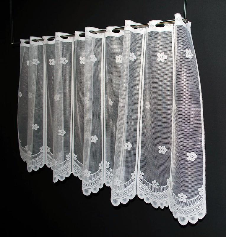 14 cm breite scheibengardinen mit blume 60 cm hoch ebay. Black Bedroom Furniture Sets. Home Design Ideas