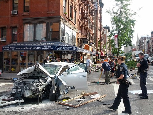 East Village - Car Wrecks Through Bodega