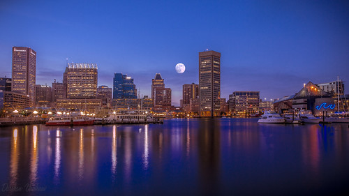 Moon, Blure Hour and Baltimore Downtown