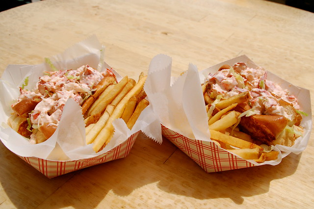 twin lobster rolls at Easton's