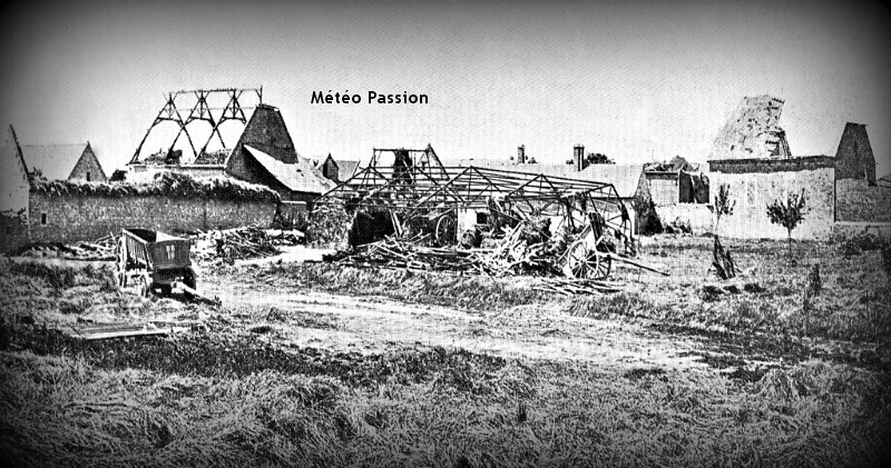 hameau de Montigny-la-Cours ravagé par les rafales de vent lors de l'orage du 30 juin 1905 météopassion