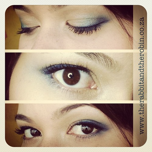 Blue eyeshadow and Gel eyeliner with Pink lips. Uploading to the Blog now. www.therabbitandtherobin.co.za #blog #makeup #blue #geleyeliner #rimmel #charlie #revlon #beauty #lookoftheday