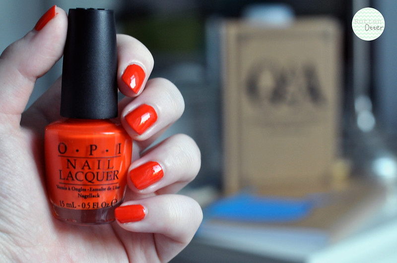 NOTD OPI A Roll In The Hague nail polish bright orange neon creme rottenotter rotten otter blog 2