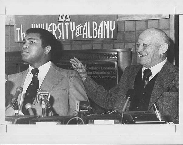 Ben Becker and Muhammad Ali at SUNYA late 1960s  albany ny