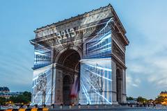 Arc de Triomphe light show during Tour de France