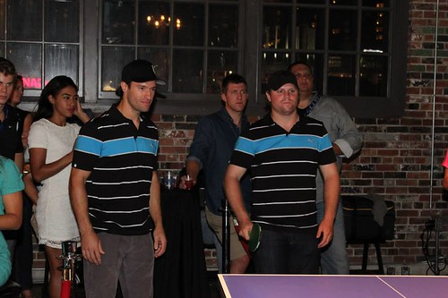 Dominic Moore & Phil Kessel with some ping pong charity action