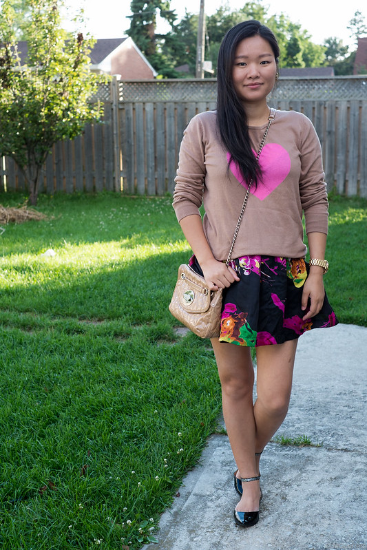 sweater floral mini skirt ankle strap flats