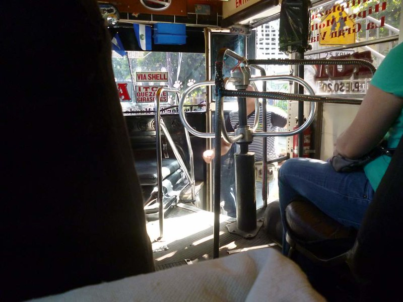 El Salvador bus with a turnstile!