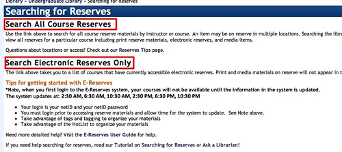 Course Reserves Page has two section: all reserves, and electronic reserves only.