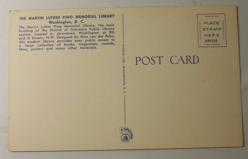 The back side of a postcard for the DC Central Library, the Martin LUther King Jr. memorial Library