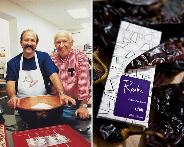 Michael Rogak and his father, Martin, of JoMart Chocolates (left). Raaka Chocolate (right); photo by Brent Herrig.