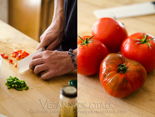 Left pic: dicing tomatoes and jalapeño, Right pic: 4 large tomatoes