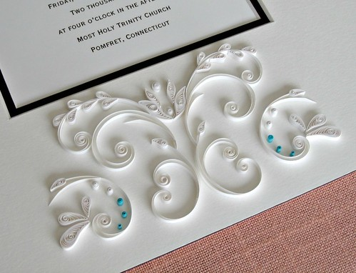 Wedding Invitation Mat with Damask-Style Quilling