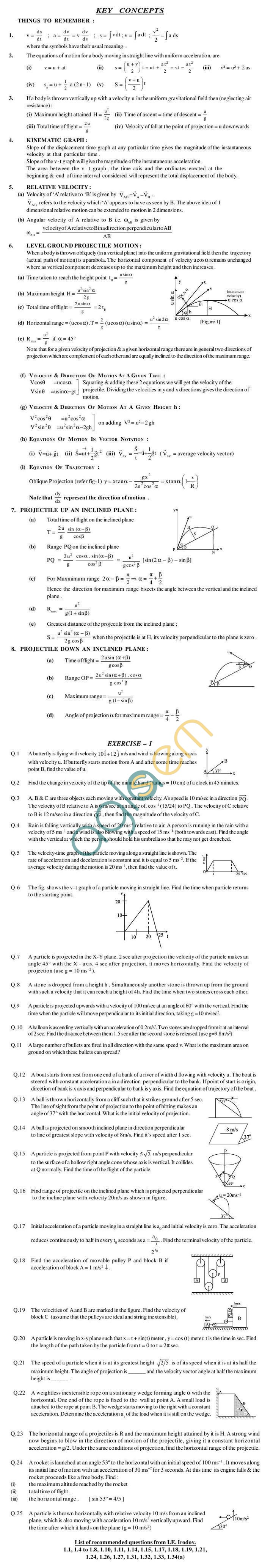 Physics Study Material - Kinematics