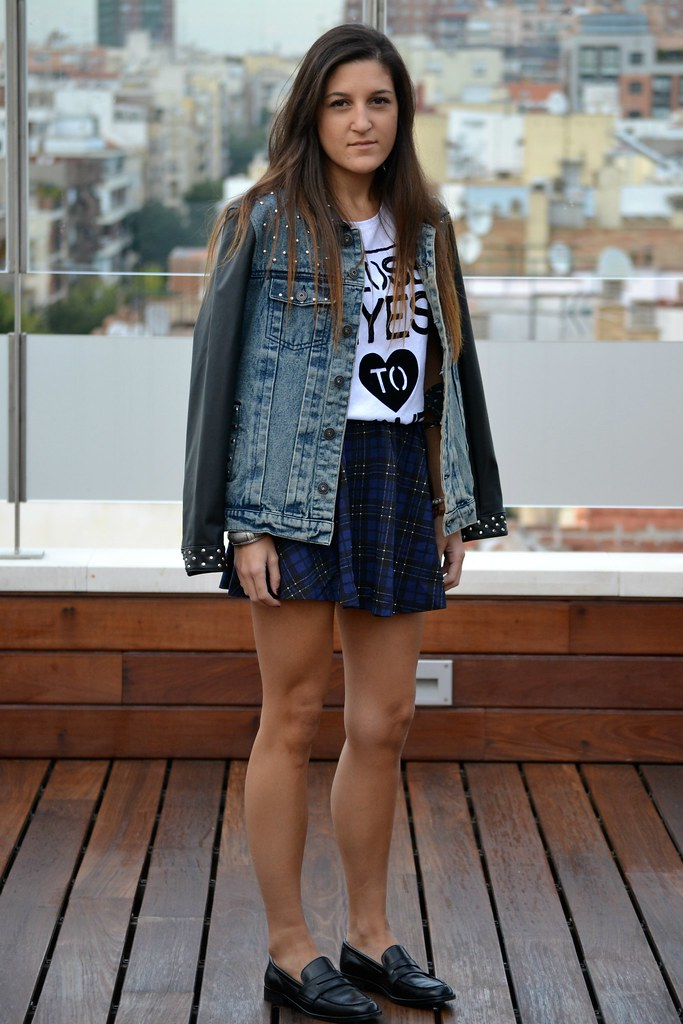 falda de cuadros azul  zara  2