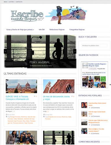 Actual página web del blog de viajes Escribe cuando llegues