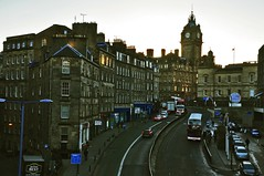 Looking up Leith St to the Balmoral, one of Edinburgh's finest, most-expensive hotels......