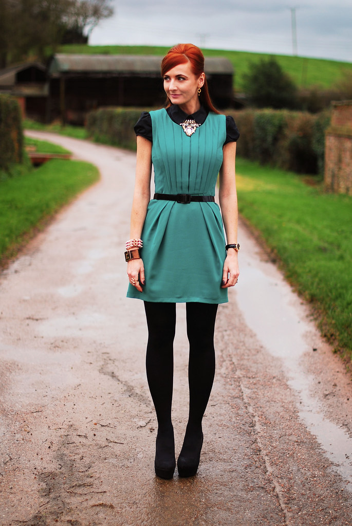 Green pleated dress & black shirt