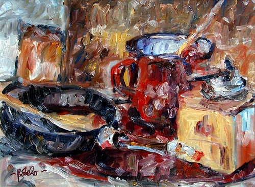 Still Life with a Coffee Mill, a red Pot and a Pan by boettcherART