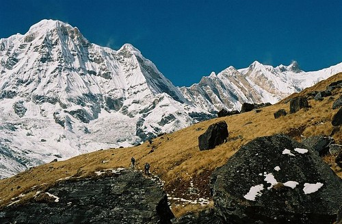 autumn nepal mountain snow 2004 analog trekking trek landscape 1 rocks wind south peak glacier trekkers round summit himalaya annapurna sanctuary fang annapurnas canoneos300 chuli i bharha