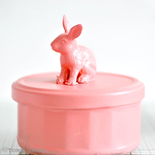 spray paint bunny in coral
