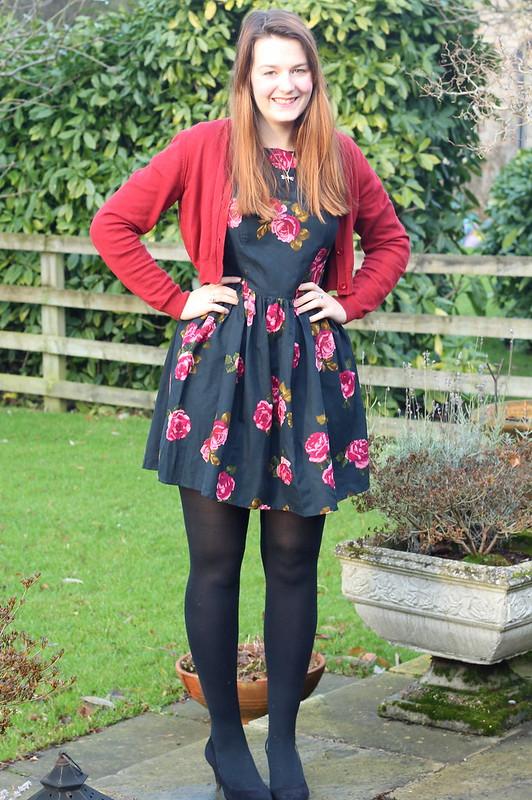 british style blog, floral dress, cardigan, heels