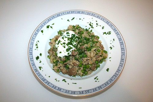39 - Indischer Erbsenreis mit Lamm - Serviert / Indian pea rice with lamb - Served