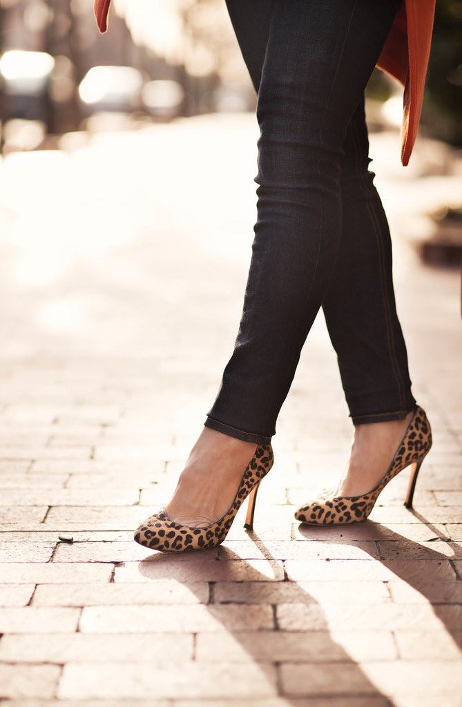 cute & little blog | leopard print pumps, rag & bone skinny jeans kensington, sheinside orange coat | winter outfit