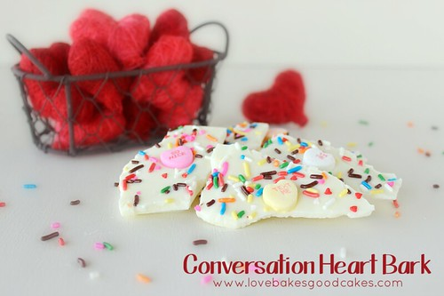 Conversation Heart Bark close up with rainbow sprinkles.