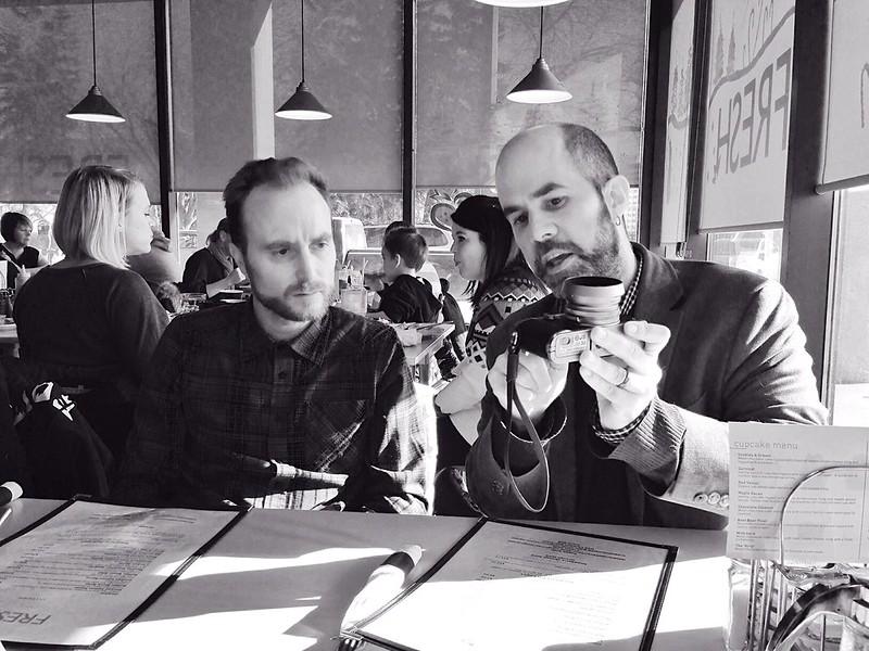 Mike and Aidan look at a Fuji X100s