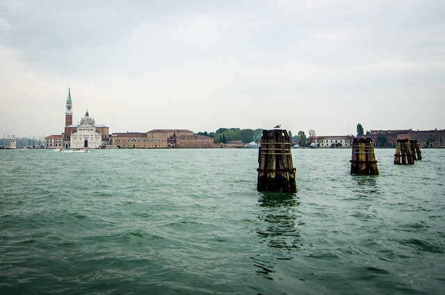 A misty view across the Venetian lagoon to San Giorgio Maggiore.