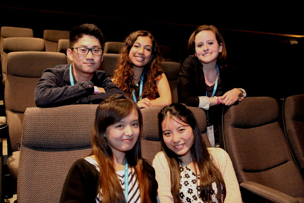 Lan Yan filmmakers, Pawara Soh, Jamie Oliveira, Danielle Schmidt, Sany Lu, and Lena Zeng in the seats of the Sundance Kabuki CInema for CAAMFest 2014 Sunday, Mar. 16. Their film Lan Yan will be screening at New People Cinema March 17. Photo by Lorisa Salvatin / Xpress