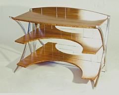 Bambo and Aluminum Mirrored Desk