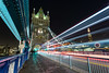 London Tower Bridge light trails