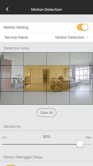 Omna iOS App - Motion Detection Settings