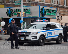 NYPD Police Officer with Patrol Car, Car Free Earth Day, Washington Heights, New York City