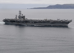 USS Nimitz (CVN 68) participates in a show of force strait transit exercise during COMPTUEX in April. (U.S. Navy/MCSN Ian Kinkead)