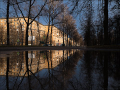 Russia. Moscow. University Avenue after the rain.