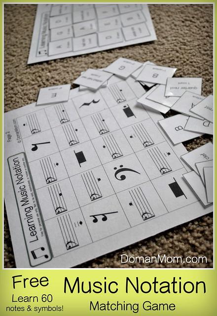Free 60-Piece Music Notation Matching Game