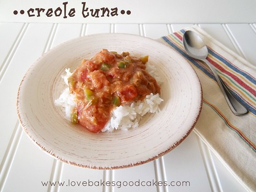 Creole Tuna in bowl with spoon.