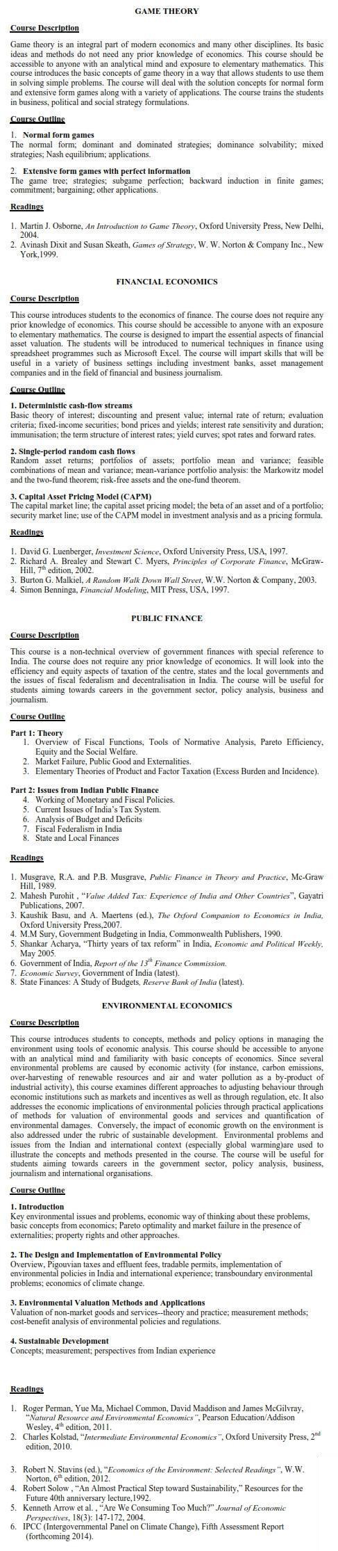 DU DC I, DC II and Applied Course Syllabus - Economics