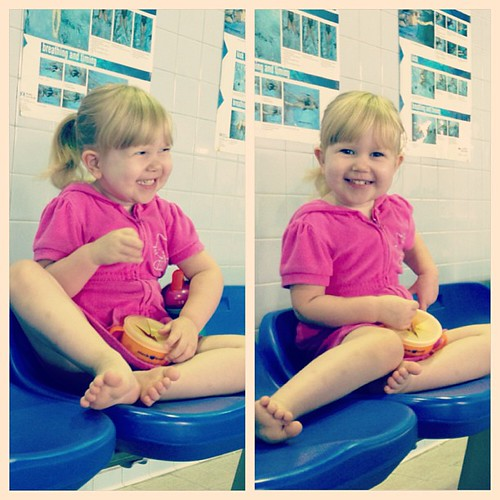Anxiously awaiting the start of swim lessons this morning. Glad she is finally enjoying them.