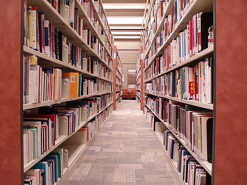 Photo of book stacks in a library