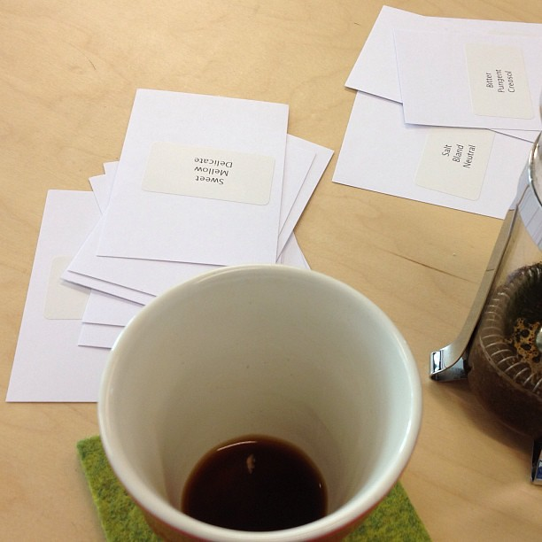 Coffee tasting game playtest aftermath. Me and Sander had quite comparable tastes.