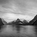 Milford Sound, B&W by OneEighteen