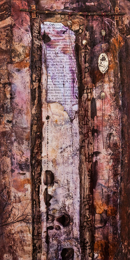 24 x 12 mixed media inspired by sandstone in Capitol Reef available - $375